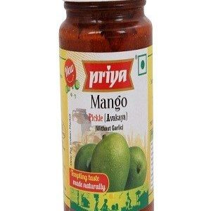 Priya Pickle – Mango Avakaya (Without Garlic), 300 gm bottel