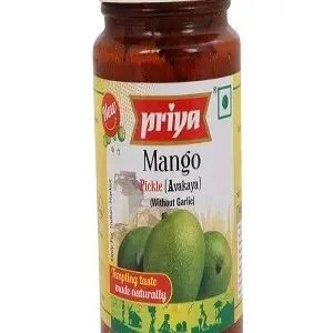 Priya Pickle – Mango Avakaya (Without Garlic), 300 gm Bottle