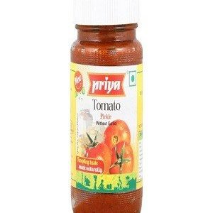 Priya Pickle – Tomato (Without Garlic), 300 gm Bottle