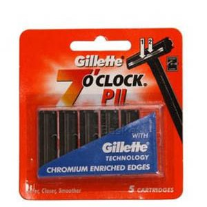 Gillette 7 O Clock Cartridges P II With Chromium Enriched Edges 5 Pcs Pouch