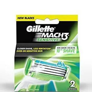 Gillette Mach 3 – Sensitive Manual Shaving Razor Blades (Cartridge), 2 pcs
