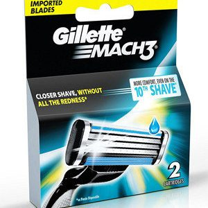 Gillette Mach 3 Manual Shaving Razor Blades Cartridge 2 Pcs
