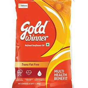 Gold Winner Refined - Sunflower Oil, 1 ltr Pouch