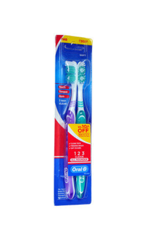 Oral B Tooth Brush All Rounder 123 Clean Medium 2 Pcs
