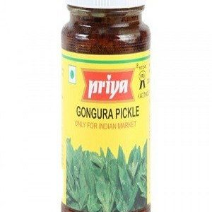 Priya Pickle – Gongura (Without Garlic), 300 gm Bottle