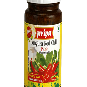 Priya Red Chilli Pickle (Without Garlic), 300 gm bottel