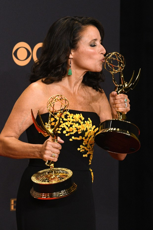 "Julia Louis-Dreyfus won the Emmy award for Outstanding Lead Actress in a Comedy Series for her role on ""Veep"" at the 69th Emmy Awards on Sunday, Sept. 17, 2017 at the Microsoft Theater in Los Angeles, California. (Photo by Michael Owen Baker / SCNG)"