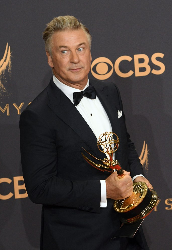 "Alec Baldwin won the Emmy award for Outstanding Supporting Actor in a Comedy Series for his role on ""Saturday Night Live"" at the 69th Emmy Awards on Sunday, Sept. 17, 2017 at the Microsoft Theater in Los Angeles, California. (Photo by Michael Owen Baker / SCNG)"