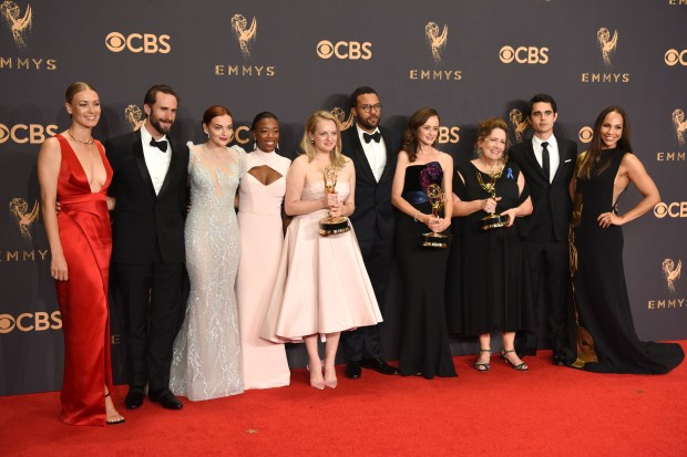 "The cast of ""The Handmaid's Tale"" won the Emmy award for Outstanding Drama Series at the 69th Emmy Awards on Sunday, Sept. 17, 2017 at the Microsoft Theater in Los Angeles, California. (Photo by Michael Owen Baker / SCNG)"
