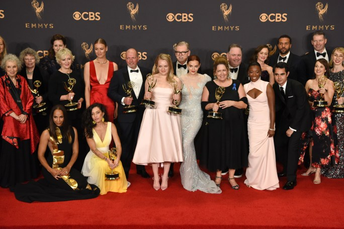 """The cast and crew of """"The Handmaid's Tale"""" won the Emmy award for Outstanding Drama Series at the 69th Emmy Awards on Sunday, Sept. 17, 2017 at the Microsoft Theater in Los Angeles, California. (Photo by Michael Owen Baker / SCNG)"""