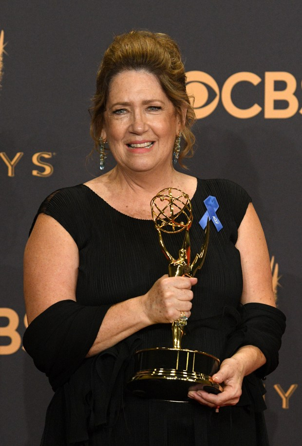 "Ann Dowd won the Emmy award for Outstanding Supporting Actress in a Drama Series for her role on ""The Handmaid's Tale"" at the 69th Emmy Awards on Sunday, Sept. 17, 2017 at the Microsoft Theater in Los Angeles, California. (Photo by Michael Owen Baker / SCNG)"