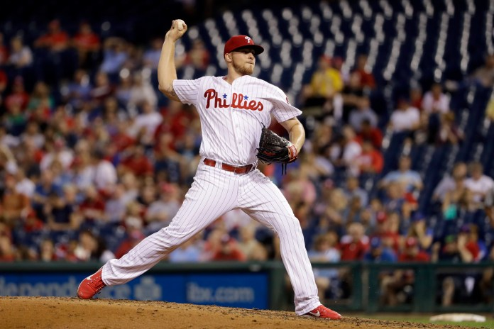 Philadelphia Phillies' Jake Thompson pitches during the third inning of a baseball game against the Los Angeles Dodgers, Wednesday, Sept. 20, 2017, in Philadelphia. (AP Photo/Matt Slocum)