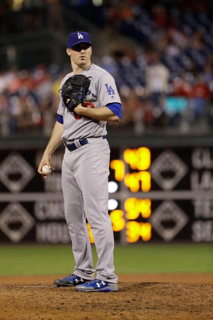 Los Angeles Dodgers' Ross Stripling in action during a baseball game against the Philadelphia Phillies, Wednesday, Sept. 20, 2017, in Philadelphia. (AP Photo/Matt Slocum)