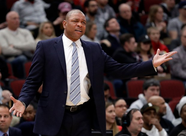 Los Angeles Clippers head coach Doc Rivers reacts as he watches his team during the first half of an NBA basketball game against the Chicago Bulls, Tuesday, March 13, 2018, in Chicago. (AP Photo/Nam Y. Huh)