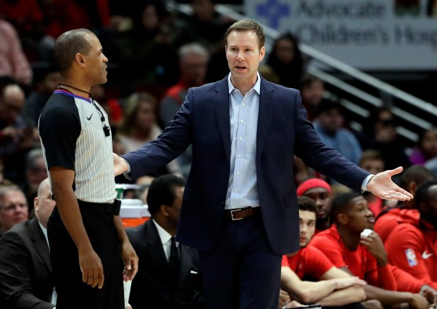 Chicago Bulls head coach Fred Hoiberg reacts to a call during the first half of an NBA basketball game against the Los Angeles Clippers, Tuesday, March 13, 2018, in Chicago. (AP Photo/Nam Y. Huh)