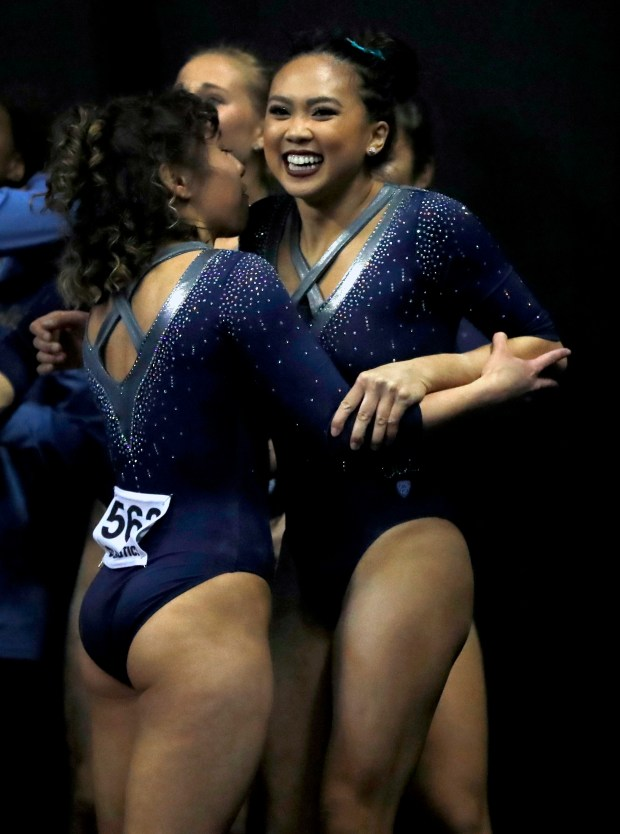 PengPeng Lee clinches NCAA title for UCLA gymnastics with perfect 10  Daily News