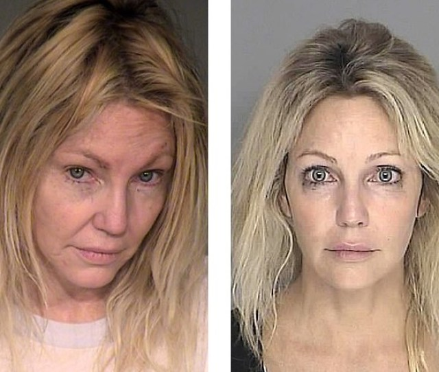 Actress Heather Locklear Who Was Reportedly Placed On A Psychiatric Hold Sunday Nov 18 2018 Is Seen In Booking Mugs From February 2018 Left