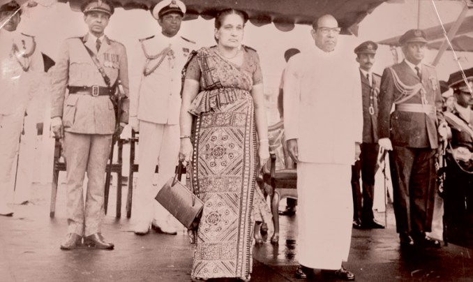 Willam Gopallawa, who served as the last Governor General of Ceylon and became the first non-executive President, with Prime Minister Sirima Bandaranaike.