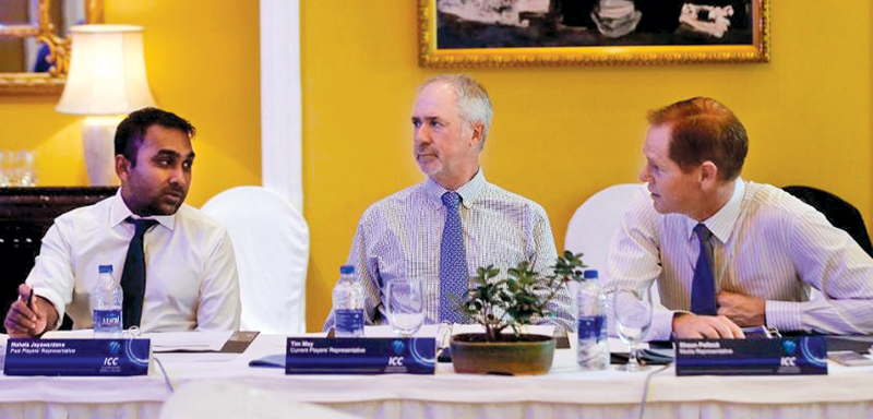 Mahela Jayawardene, Tim May and Shaun Pollock at the ICC Cricket Committee meeting in Mumbai.