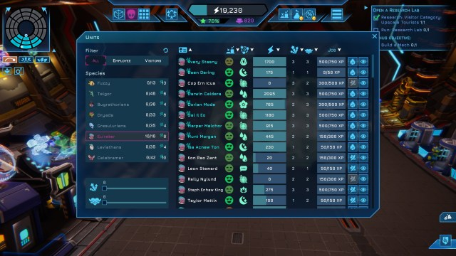Spacebase Startopia - alien menu