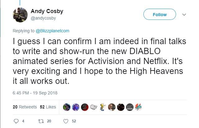 diablo serie tv tweet cancellato