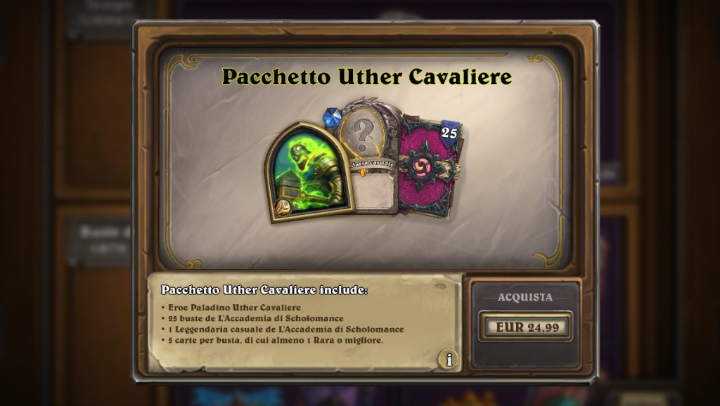 pacchetto uther cavaliere