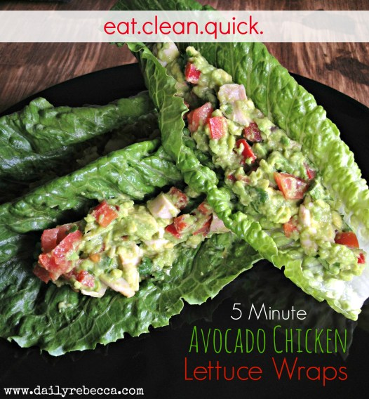 5 minute avocado chicken lettuce wrap