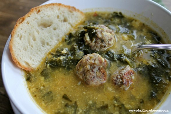 closeup of italian wedding soup