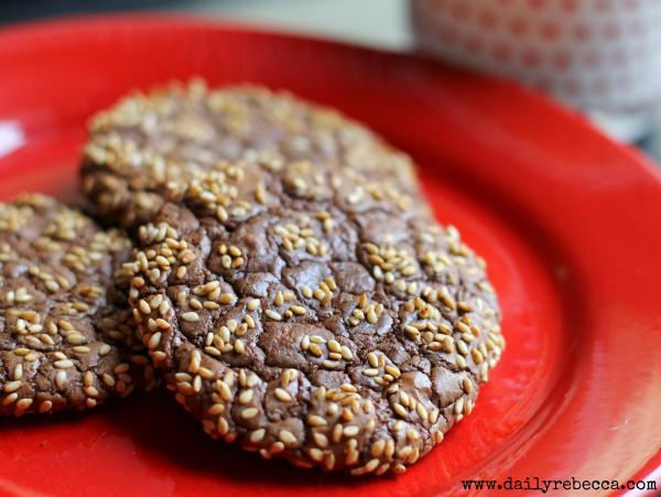 chocolate sesame cookie closeup