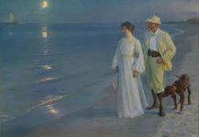 Art and culture in Denmark - Summer evening at Skagen beach. Painting by danish artist O. S. Krøyer, 1899