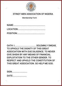 Stingy Men Association of Nigeria Form