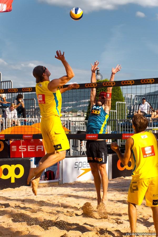 Big Ups - Men' Beach Volleyball Player Jumps Sky-high Spike Tournament