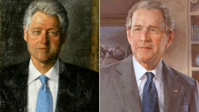 White House portraits of Clinton and Bush moved to rarely used room