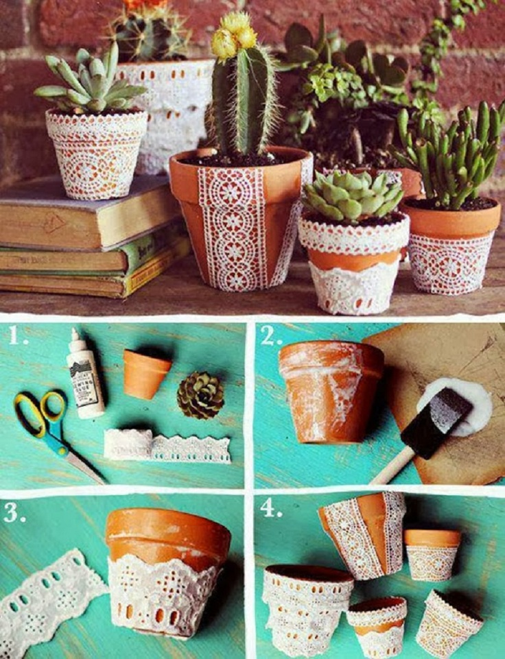 Add Pretty Lace For Pot Planter For You