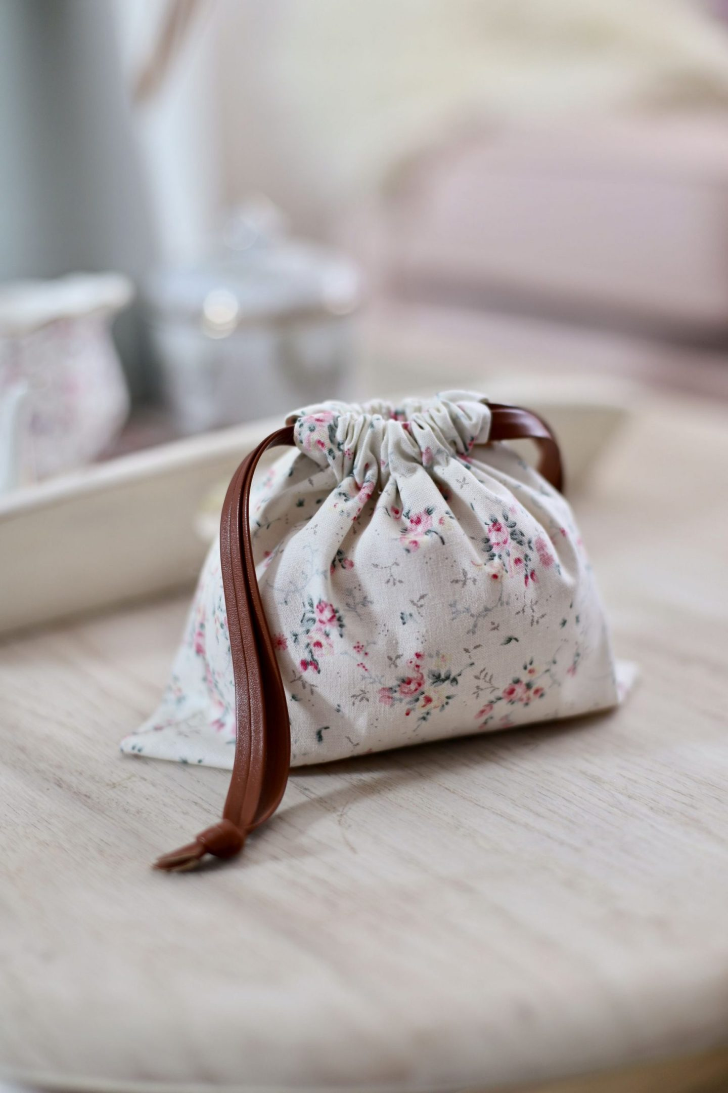 DIY drawstring bag, floral fabric