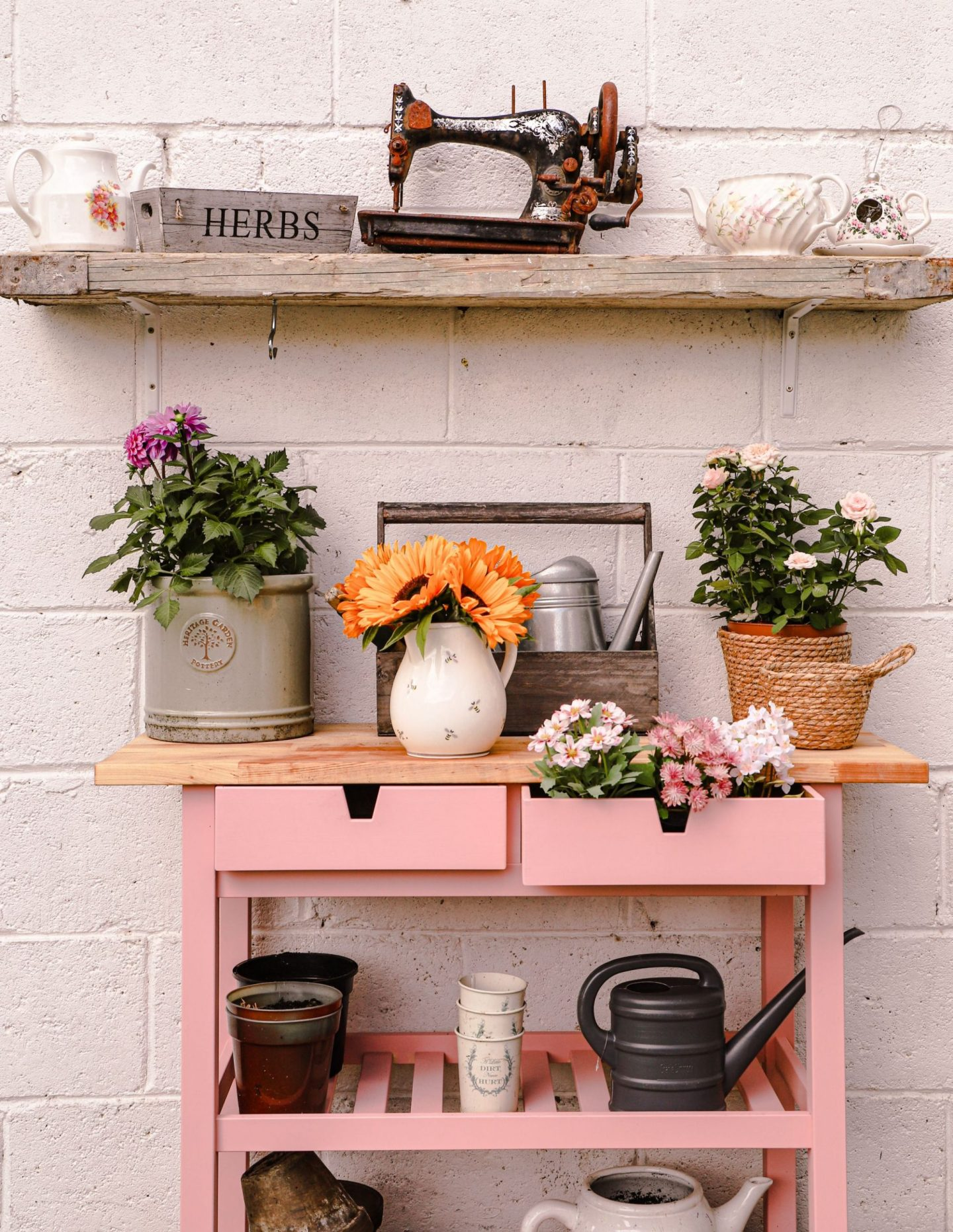 How to hack an Ikea Forhoja cart into a potting bench - Dainty