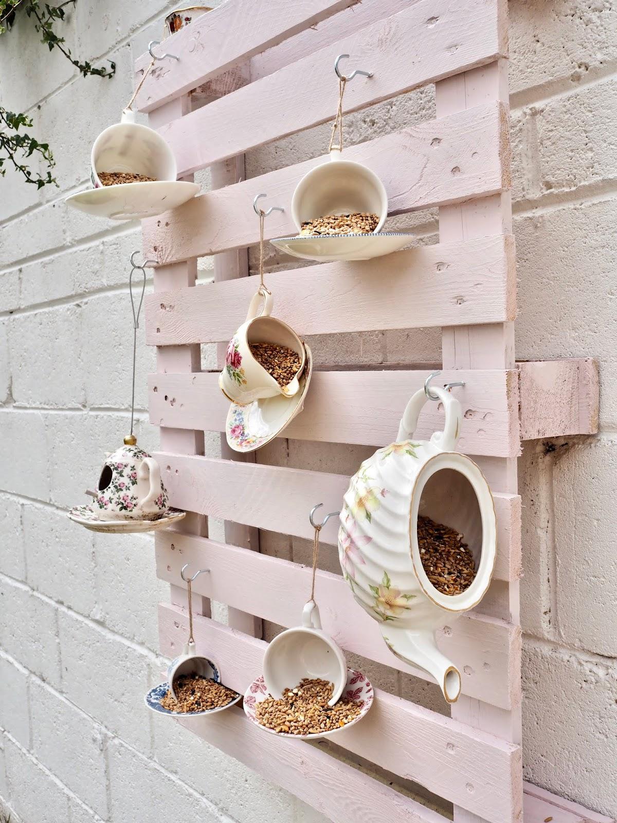 DIY teacup bird feeders
