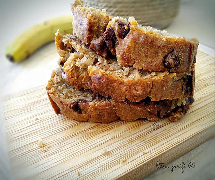 Banana bread με σταγόνες σοκολάτας