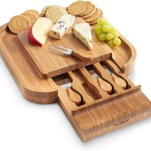 Για τους τυρολάτρεις! Δίσκος τυριών με συρτάρι και Σετ από μαχαίρια τυριών - VonShef