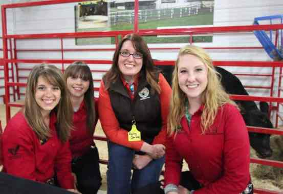I got to meet back up with 3 members of the National Beef Ambassadors team that I helped judge back in September. These gals along with Debbie the angus heifer (in back) were great at talking about how beef is raised.