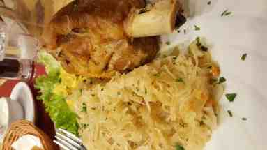 Schweinhax (Pork Hocks) and Kraut. A meal served in many Wisconsin homes.