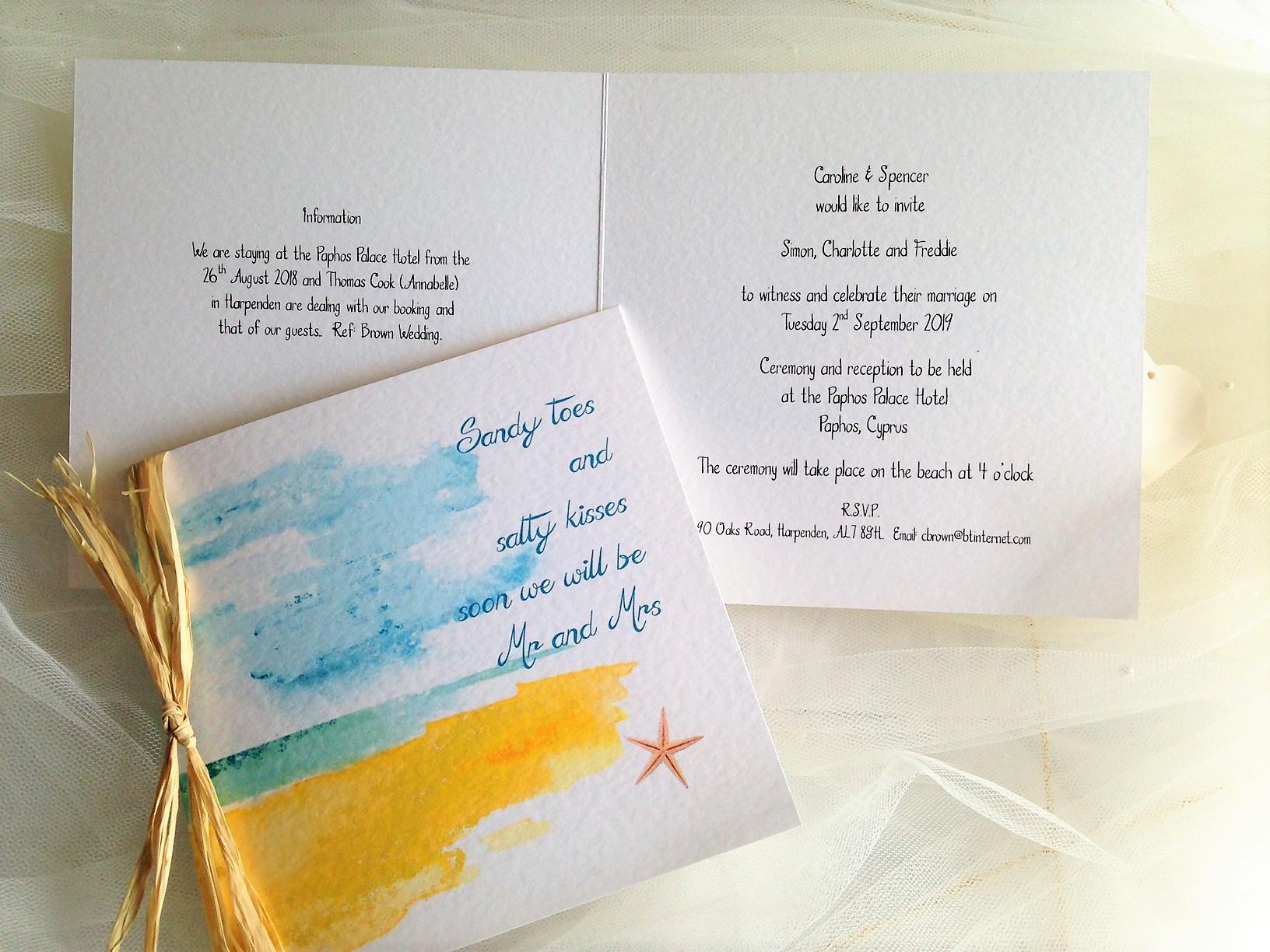 Beach Wedding Invitations from 125 each  Wedding Invites