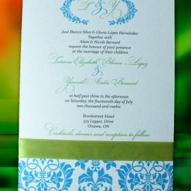 Blue Damask invite