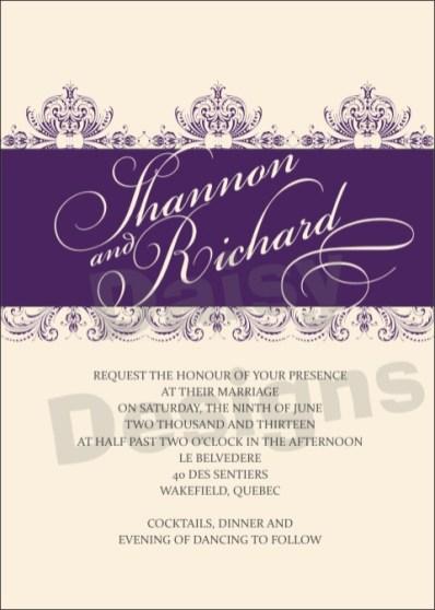 Wedding Floral Lace Purple invite