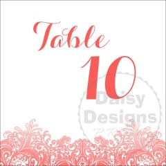 Coral Reef Table Number