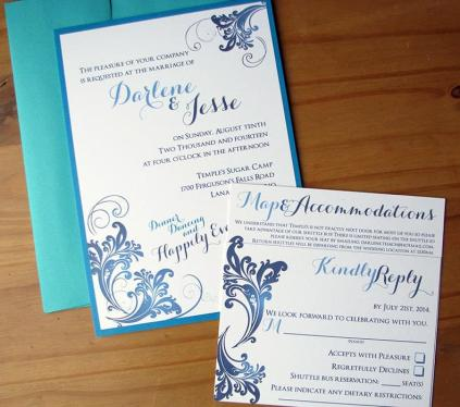 50 Shades of Blue invite, rsvp and envelope