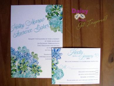 Succulents 5x7 invite & rsvp