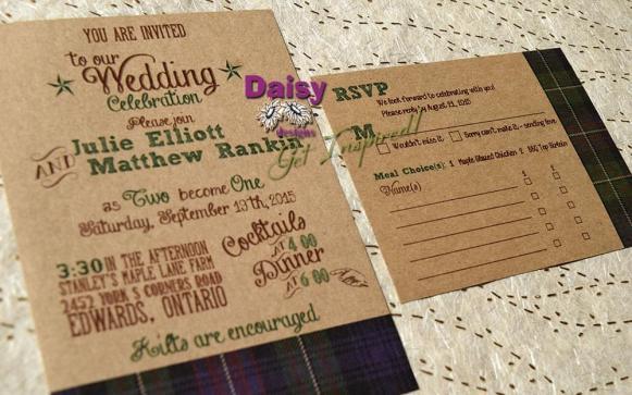 Rustic Tartan invite / rsvp