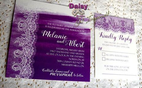 majestic purple lace square invite and rsvp