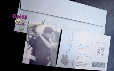 Ticket to Paradise invite & envelope